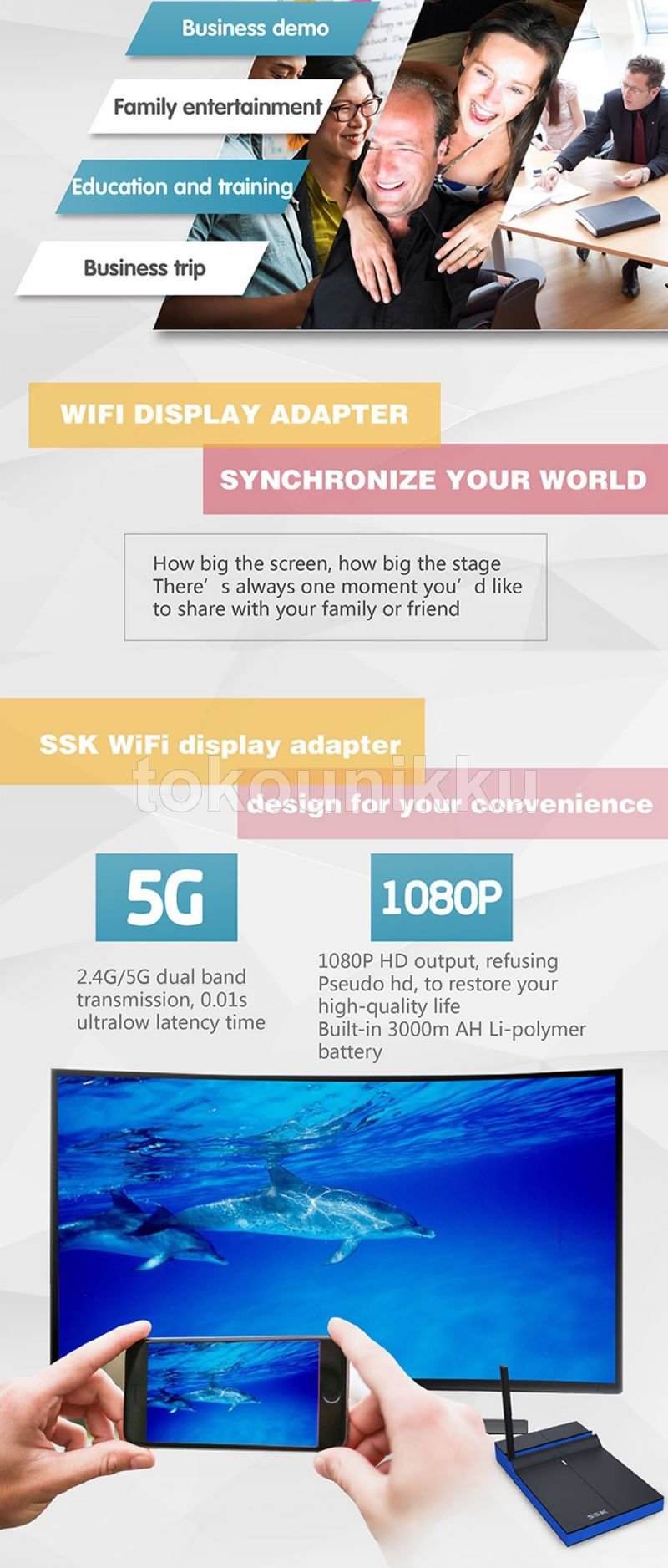 WIFI to HDMI SSK -Z200 HDMI Wifi Miracast Airplay 1080P 2.4G+5G TV Stick Dongle Adapter Mirroring